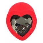 Μεσαίο κόκκινο στολίδι πρωκτού με κόσμημα καρδιά