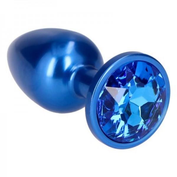 Μικρή μεταλλική μπλε τάπα με στρας